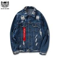 Rocksir Ripped Denim Ceketler Erkekler/kadın Tahrip Sıkıntılı Delik Mavi Kot Ceket Mont Hip Hop Moda Let' Kaya Streetwear