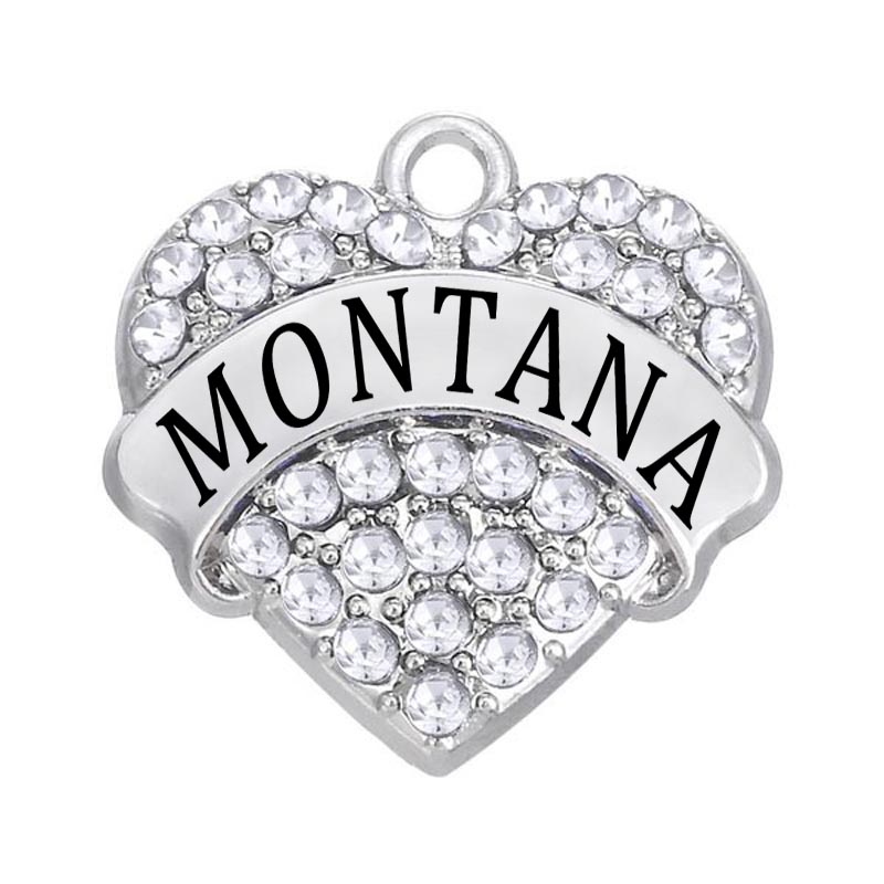 Just Dropshipping Aliexpress Wholesale Alloy Rhinestone Montana State Name Heart Charm Hot Sale 50-70% OFF