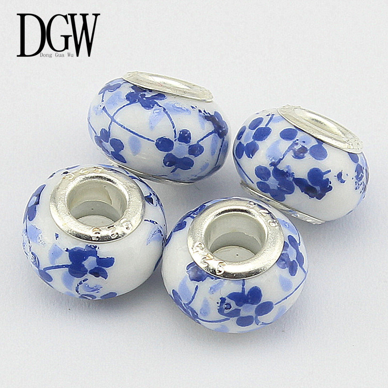 DGW 6 Colors DIY ceramic Beads Fit Pandora Charms Bracelets Necklaces European Beads jewelry making charms