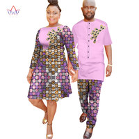 New Lovers Womens Mens African Clothing Two Sets Matching Couples Clothes long Sleeve summer wedding a line dress 6xl WYQ39