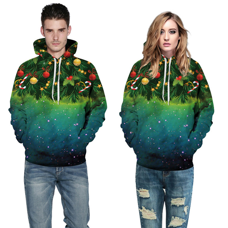 Fashion 3d Print Christmas Tree Galaxy Unisex Women Men Hooded Sweatshirt Plus Size 2017 Loose Thin Hoodies Tracksuit Pullover