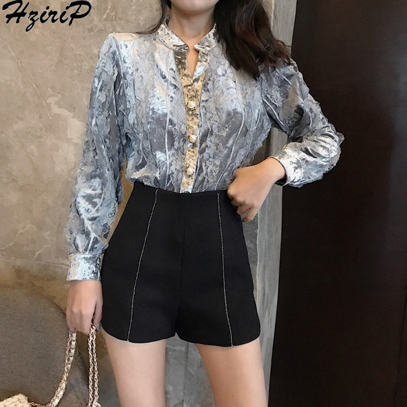 Hzirip 2019 Retro Fashion Spring Autumn Loose Casual Blouse Female Tops Sweet Vintage Pearls High Quality Sexy Single Breasted