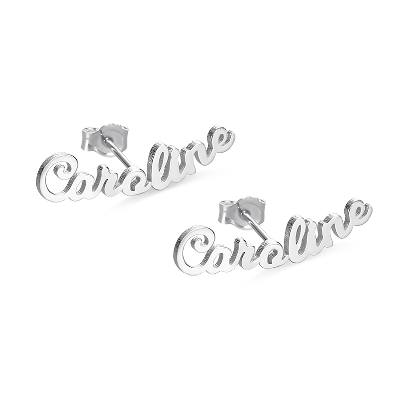 AILIN Personalized Name Earrings 925 Sterling Silver Customized Jewelry For Birthday Gift
