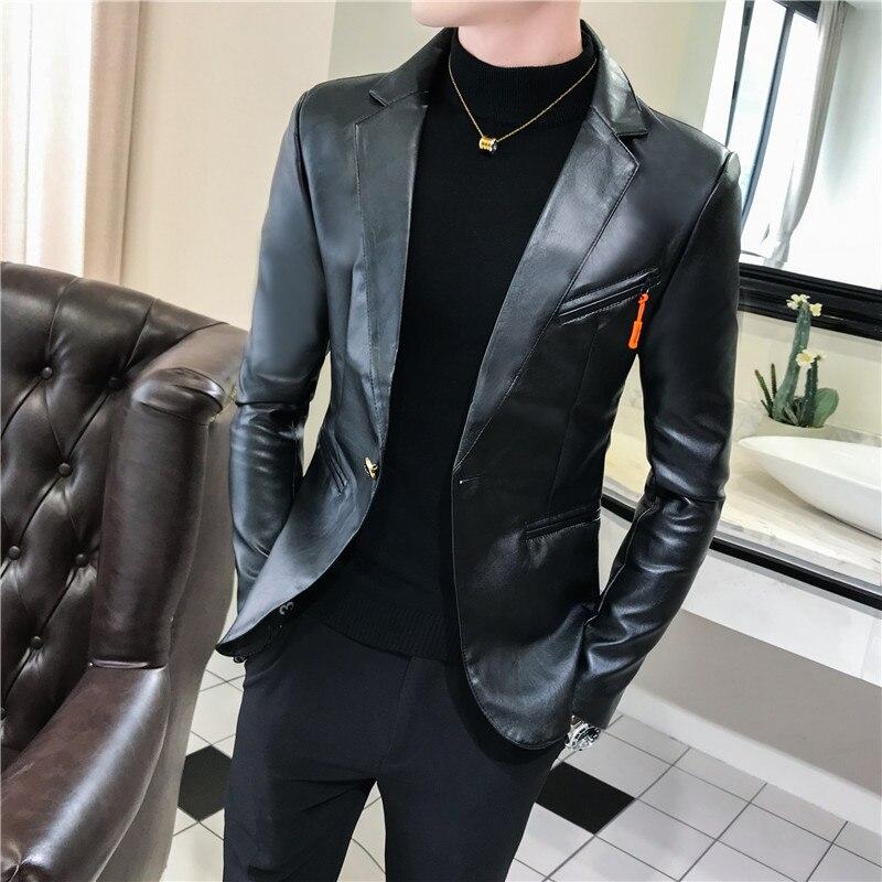 2019 New Arrivals Faux Leather Suit Jacket Men One Button Slim Fit Black White Red Moto Biker Streetwear Leather Blazer Coat Man