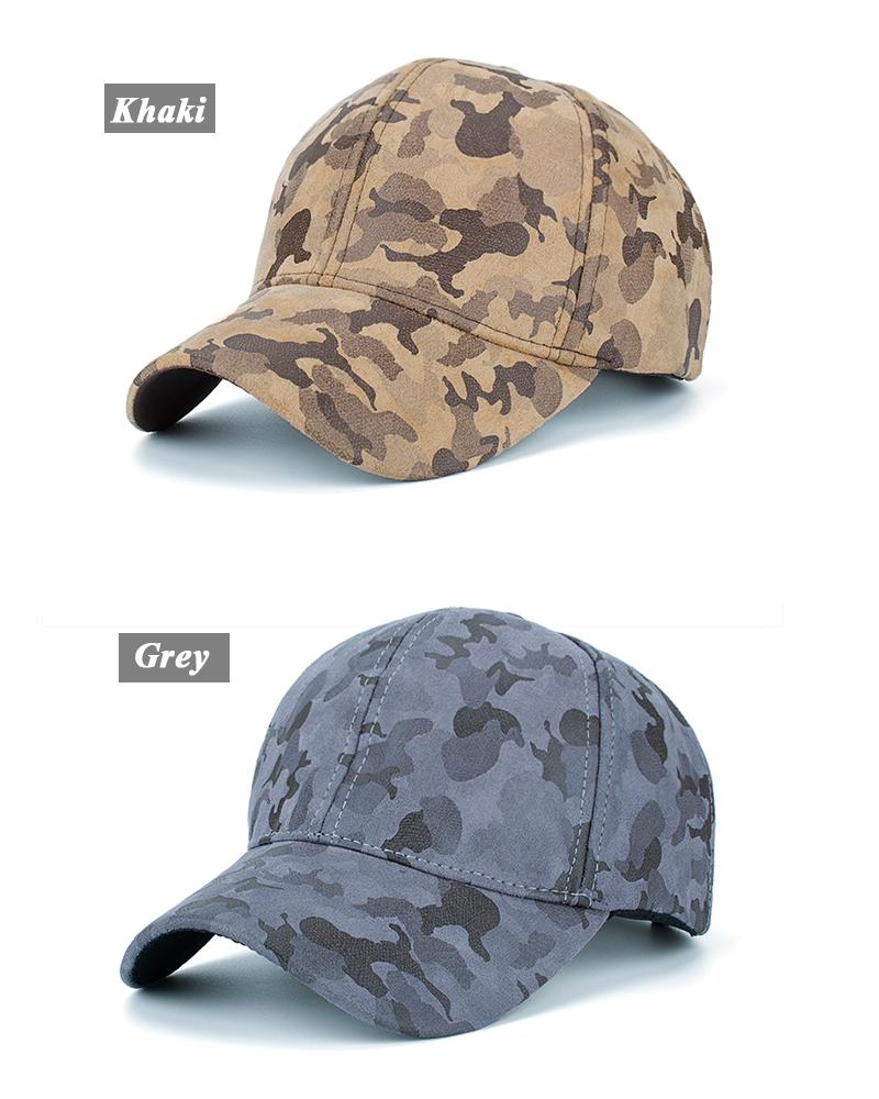 Faux Leather Camo Baseball Cap - Khaki Cap and Grey Cap Options