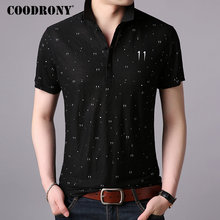 COODRONY T Shirt Men Fashion Dot Print Short Sleeve T-Shirt Summer Business Casual Mens T-Shirts Top Tee Homme S95013