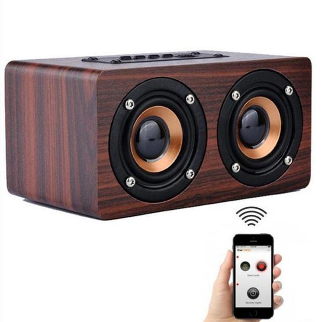 W5 Wireless Bluetooth Speaker Powerful Wooden Dual Sound Classic Loudspeaker Bass Soundbar Hands Free