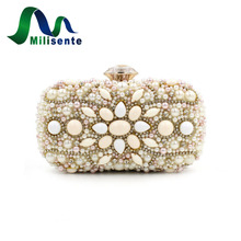 Vintage Women Beaded Bags Small Evening Purse Lady Day Clutch Pearl Wedding Handbags Party Bag Bouquet White With Chian