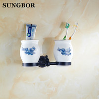 Classical Oil Rubbed Bronze Brass Black Wall Mounted Double Cup Tumbler Holder Toothbrush Holder Bathroom Accessory