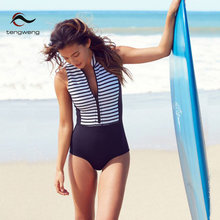 2018 New Swimsuit Women One Piece Swimsuit Plus Size Swimwear Stripe Print Beachwear Bathing Suit Bodysuit Swimming Surf Suit XL