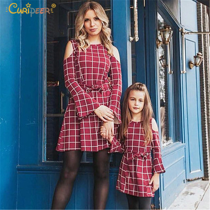 2019 New Mom Daughter Youngsters Ladies Dresse Household Matching Garments Plaid Lengthy Sleeve Plaid Mother And Daughter Attire Household Look