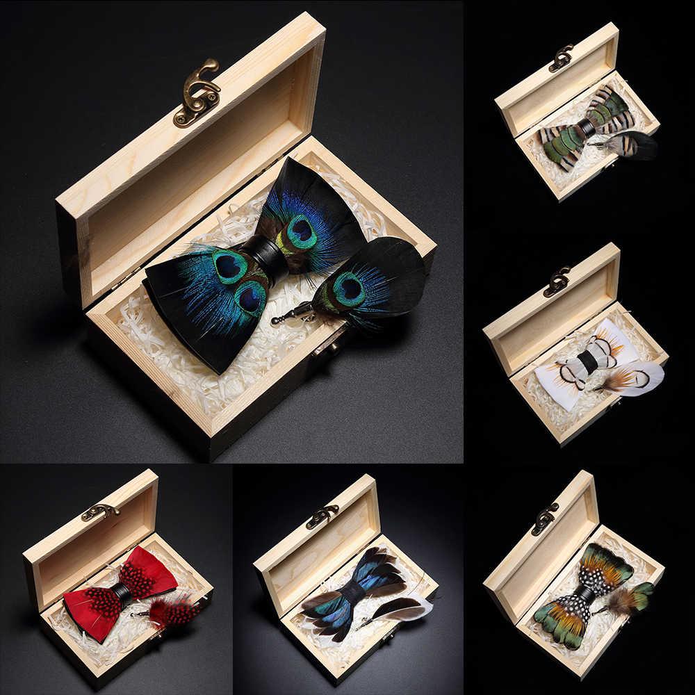 KAMBERFT تصميم اليدوية ريشة ربطة القوس فيونكة بروش مجموعة صناديق خشبية عالية الجودة الرجال ربطة عنق جلدية ل حفل زفاف مأدبة