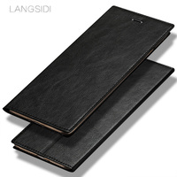 LANGSIDI Brand Mobile Phone Shell Square Wax Leather Flip Phone Holster For Xiaomi Note3 Phone Case