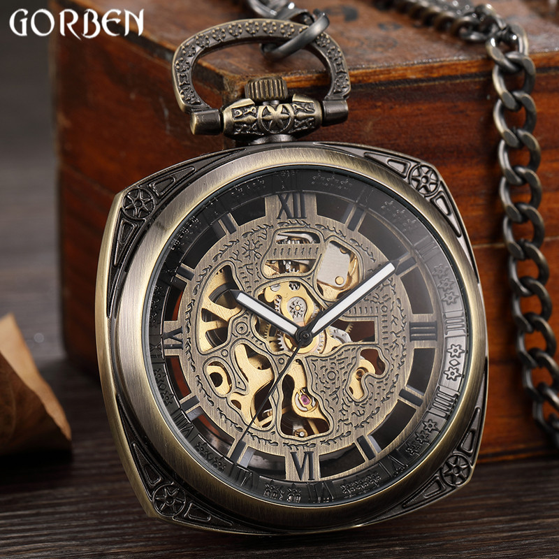 Retro Bronze Steampunk Squar Dial Mechanical Pocket Watch Mens Clock Carved Hollow Dial Skeleton FOB Chain Pendant Women Watches russian vingtage silver soviet bolshevik mechanical fob pocket watch mens military pendant watch chain free ship