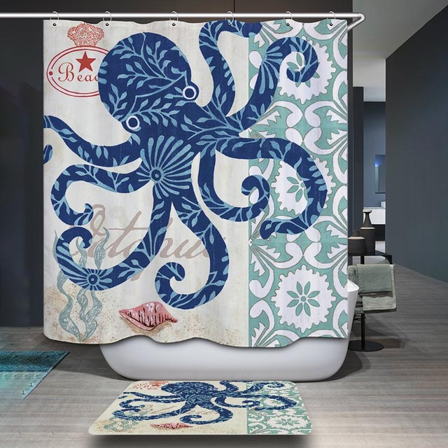 Monily Polyester Waterproof Whale Sea Lions Octopus Shower Curtain