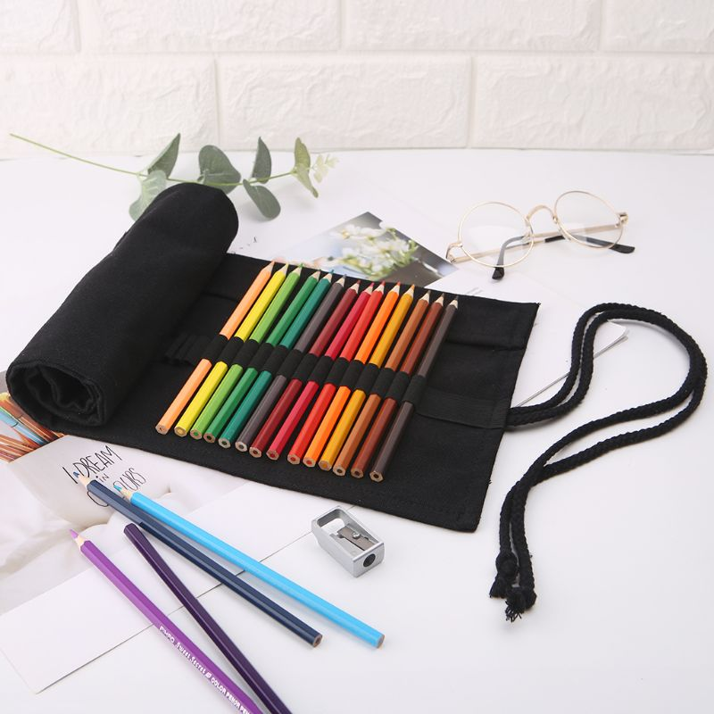 Black Color School Pencil Case Roller 12/24/36/48/72 Holes Canvas Roll Up Makeup Canvas Pen Bag For Girls Boys Stationery