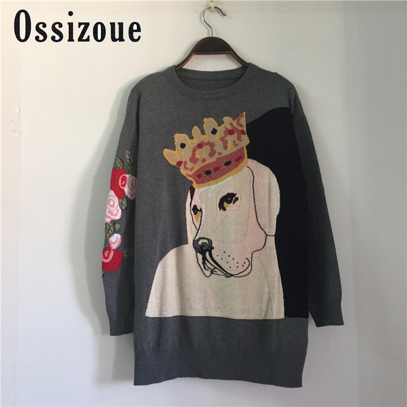 New 2017 Autumn Long Knitted Sweater Women Dog Floral Sweater Coat Womens Sweaters Clothes Pullovers Fashion Pullover Clothing ...