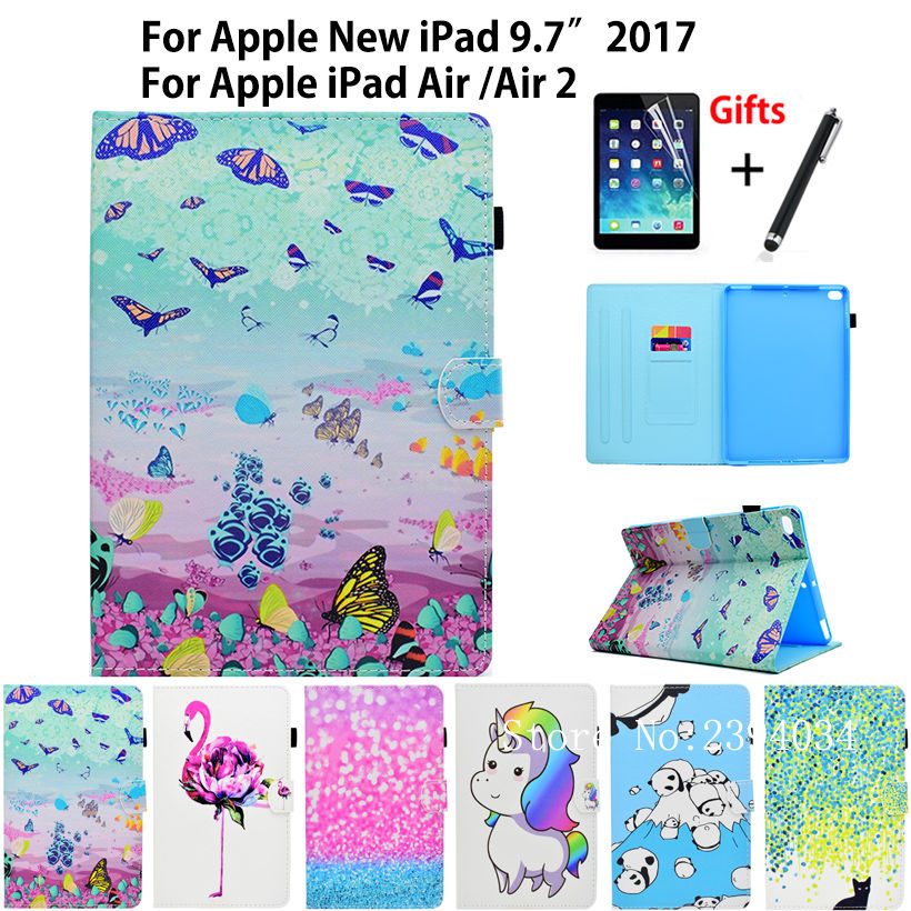 Fashion Colorful PU Leather Case For Apple New iPad 9.7 2017 A1822 Cover For iPad Air 1 2 iPad 5 6 Case Stand Shell+Film+Pen banks banks goddess