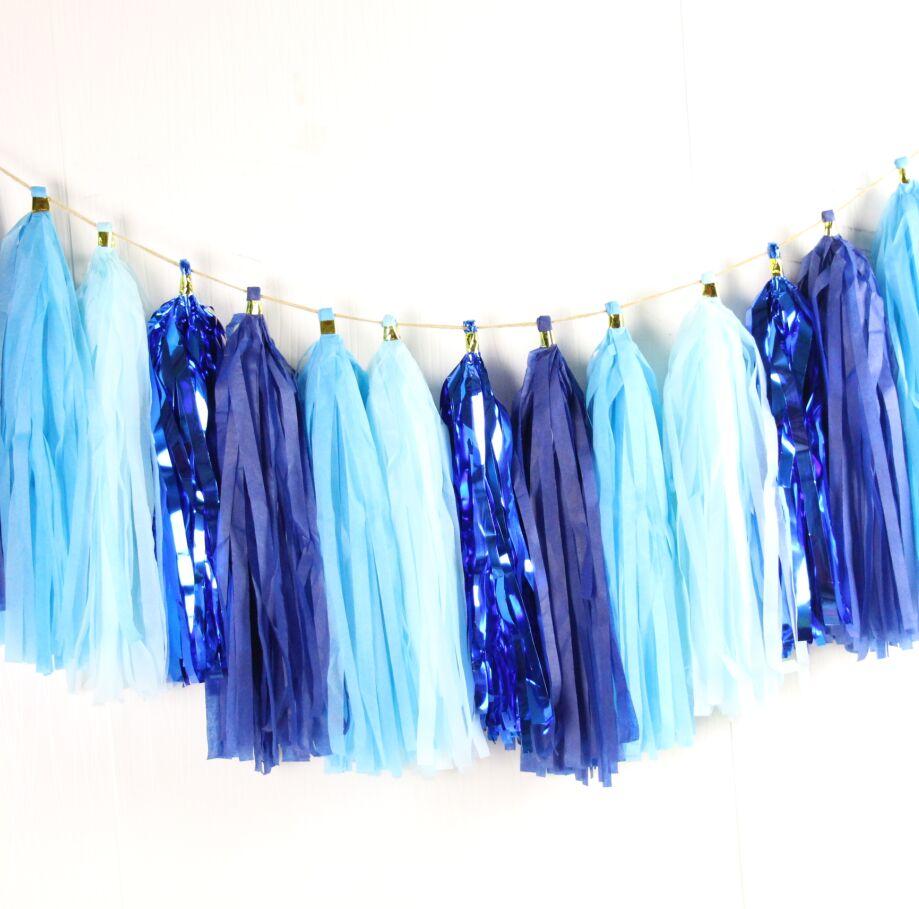 Midnight Blue Wedding Decorations: 16pcs Blue Tassel Garland Blue / Sky Blue / Midnight Blue
