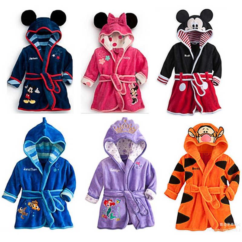 גלימות לילדים מיקי מיני ילדים סלעית פיג 'מה בגדי בני ילד צמר חלוקי רחצה חמות בנות כותנות לילה קריקטורה הלבשת