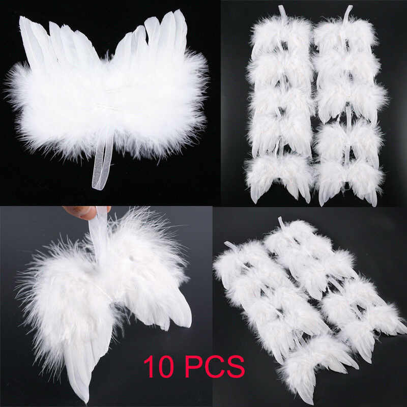 10Pcs White Feather Wing Lovely Chic Angel Christmas Tree Decoration Hanging Ornament Home/Party/Wedding Ornaments Xmas Decor