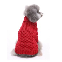 Christmas Yellow Red Dog Sweater Sweet Autumn/winter Solid Small Dog Clothes for New Year's Casual Daily Dog Sweaters