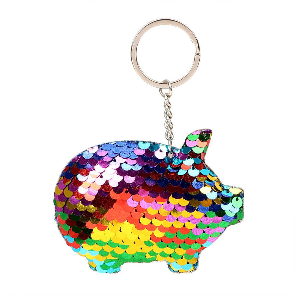 FORAUTO Keychain Chave Titular Glitter Lantejoulas Chave Anel Chave de Cadeia Bonito do Porco Interior Acessórios Presentes Charme Presente Para O Amigo