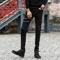 Homens Zipados Skinny Jeans Stretch Calças de Algodão Meados Cintura Reta Slim Fit Casuais Jeans Preto para Os Homens 8028 Tamanho 27-36