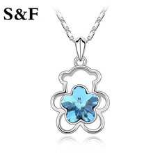Anime Bijoux Femme Bear Jewelry CC Pendant Necklace Fashion Hallow Little Bear Necklace Girls Crystal Necklace for Woman 2017