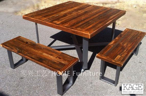 Outdoor antique industrial modern style recycled wood picnic table outdoor antique industrial modern style recycled wood picnic table the old pine table watchthetrailerfo