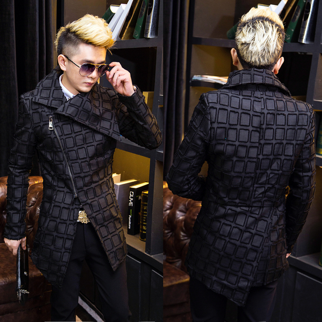 The winter of 2017 thickening man trench coat Stylist fashion singer's clothing personality M--XXL