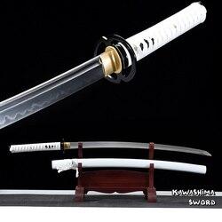 Настоящий Катана T10 стальной глины закаленное ручной самурайский меч полный тан для продажи готов для резки бамбука-Новое поступление-белы...