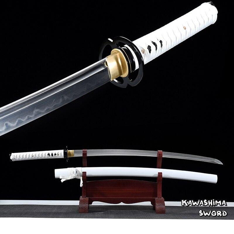 Prawdziwa Katana T10 glina hartowane ze stali ręcznie miecz samuraja Full Tang na sprzedaż gotowy do cięcia bambusa New Arrival  biały w Miecze od Dom i ogród na  Grupa 1