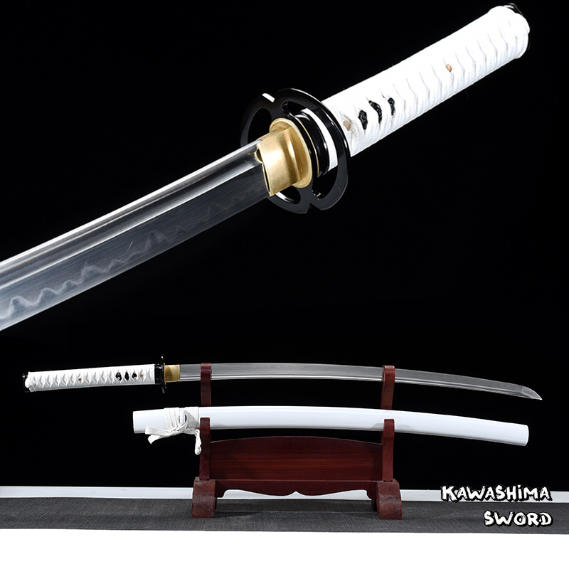 Real Katana T10 Steel Clay Tempered Handmade Samurai Sword Full Tang For Sale Ready For Cutting Bamboo-New Arrival-White