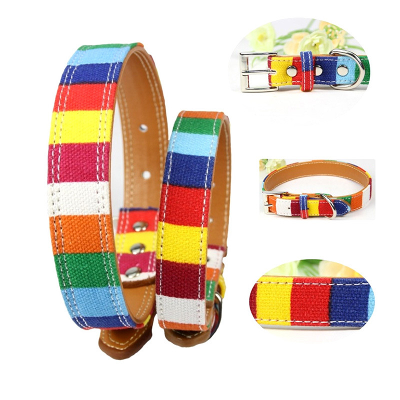 Pet Collar Designer Perro For Large Dogs Leather Plain Big Small Dog Colorful Rainbow S-XXL