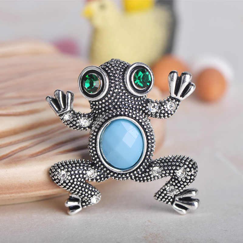 Blucome Vintage Katak Bentuk Hewan Bros Biru Langit Resin Korsase Aksesoris Bros untuk Wanita Pria Syal Sesuai Jilbab Pin Perhiasan