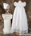 2016 аппликации и с бантом кружева девочка белый / слоновая кость платье-линии первое причастие платья крещение платье крещение платье с капота