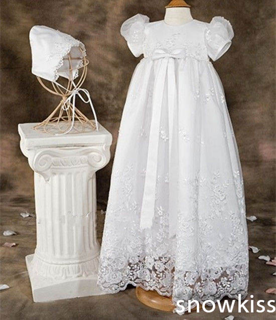 2016 Appliques and Bow Lace Baby Girl White/Ivory A-line First Communion Dresses Christening Gown Baptism Dress with bonnet