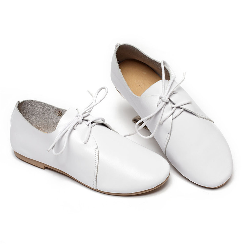 Automne up Femmes Blanc 2018 Nouvelles Véritable Design Rond Beyarne Dentelle Style En De Patchwork Cuir Bout Chaussures SwZqAA