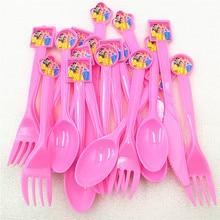 30pc Disney Princess Ariel/Snow White/Belle/Cinderella/Jasmine/Aurora Knife Fork Spoon Tableware Birthday Party Supplies цена