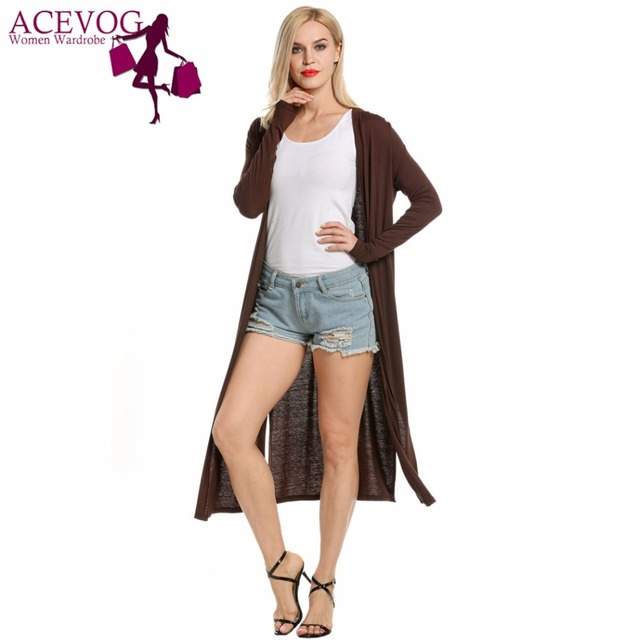 6a2f57f791 ACEVOG Women s Cardigan Sweater Knitted Autumn Casual Long Sleeve Solid Open  Stitch Front Slit Poncho Long Maxi Jacket Lady Tops