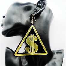 Hiphop Sexy Long RMB/$/GBP Currency Symbol Earrings for Women US Dollar/Pound Dangle Earring Brincos Earings Fashion Jewelry