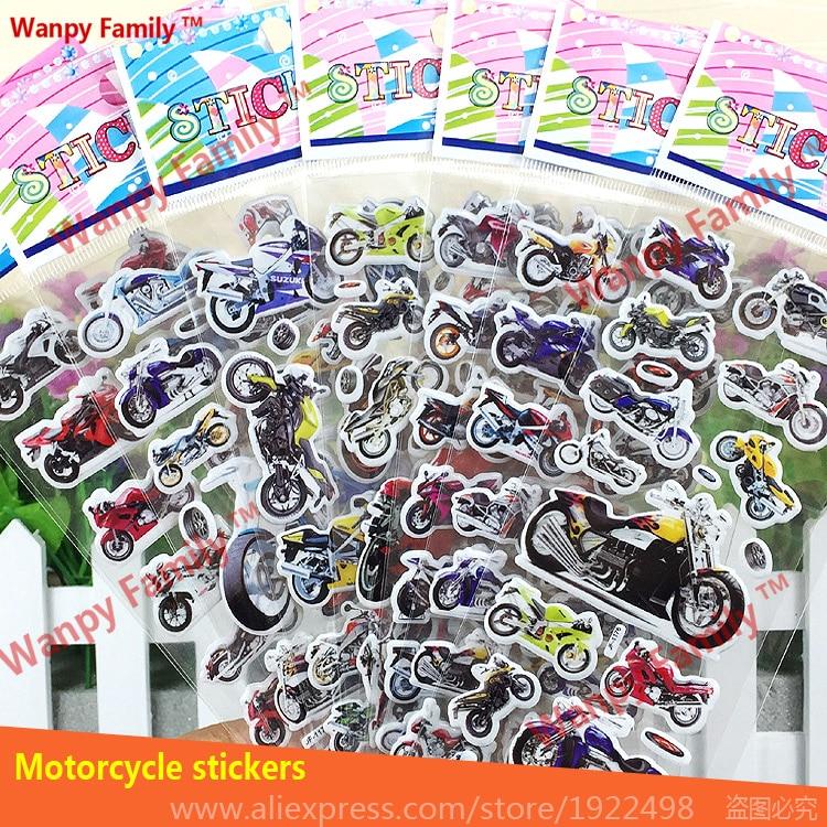 10 pcs / lot 3d crtani zidne naljepnice za motocikle, trkaće moto naljepnice, za djecu sobe modne dekor naljepnice klasične igračke naljepnice
