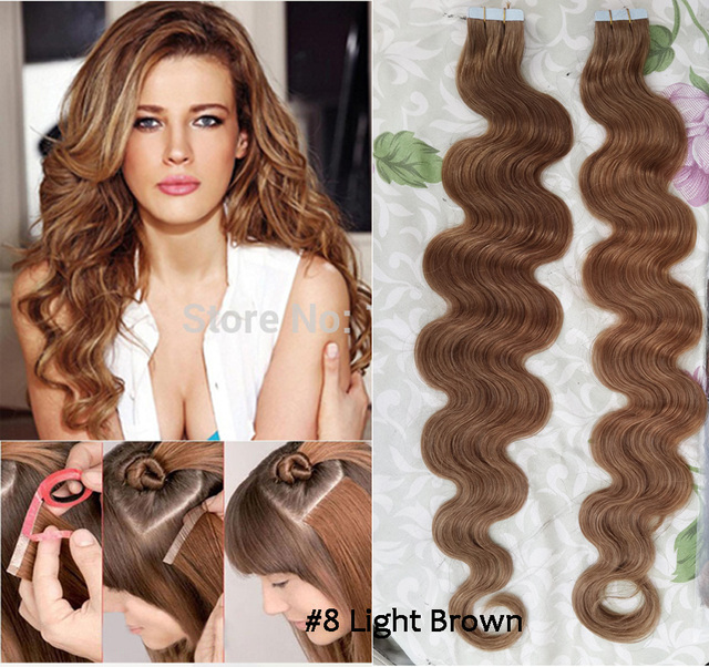 Online Sales Charismatic 8 Light Brown Tape Hair Extensions Pu Skin