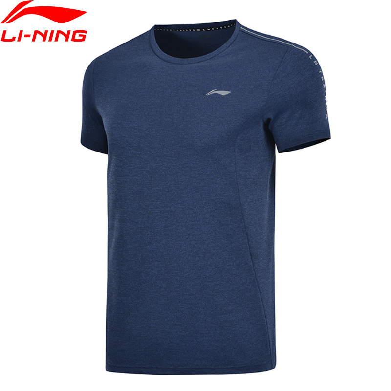 Li-Ning Men Training Exercise T-Shirts 100%Polyester Breathable Regular Fit LiNing Li Ning Sports Tee Tops AHSP041 MTS3091
