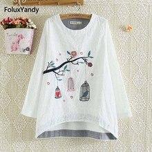 Bird Embroidery Blouse Shirt Women Plus Size 3 4 XL Elegant Casual Long Sleeve Blouse White Female Blusas NN81