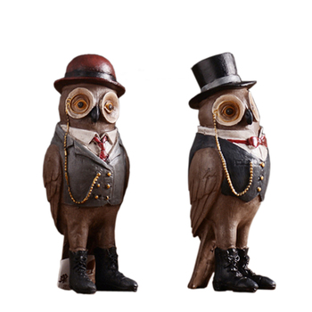 2 PCS for a Set Antique Resin Owls Home Decoration Furnish Loft Art Craft Toy Birthday Gift