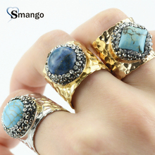 New Arrival! Gold Plating color Rhinestone and Crystals Pave Setting Adjustable Rings ! 5 Pieces