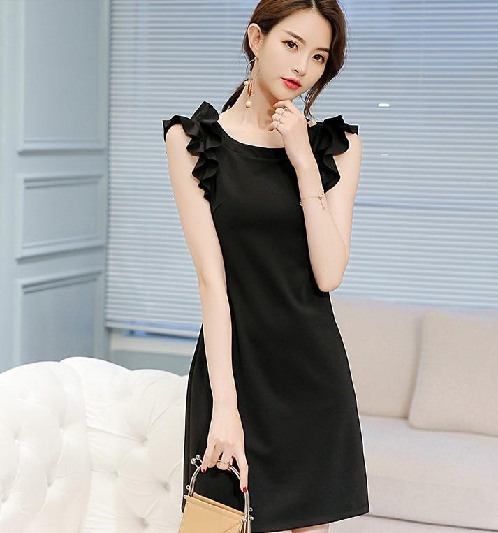 Chun xia han больших размеров показать тонкие досуг Джокер чистого цвета модные женские платья