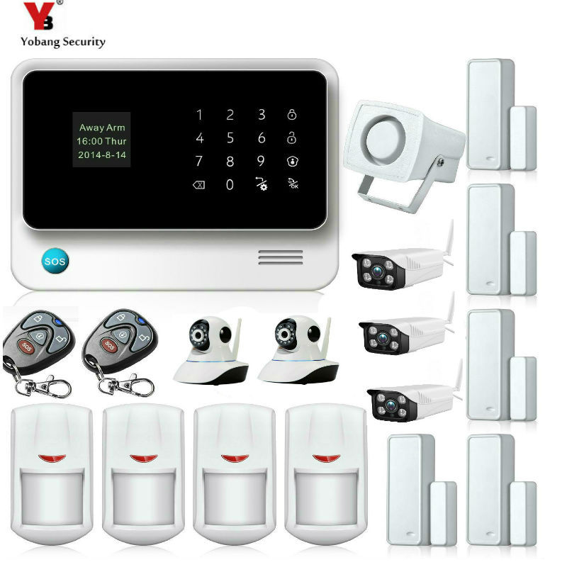 Yobang Security WIFI GSM Alarmas De Seguridad Para Casa Home Security Alarm System IOS/Android Remote Control Cameras Kits yobang security ios